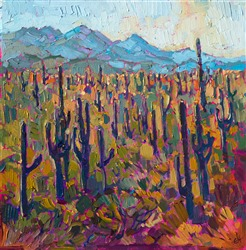 Arizona Saguaro Forest, 12x12 original oil painting for sale.
