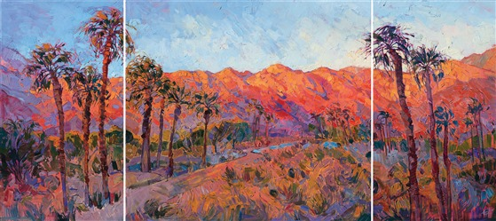 La Quinta palm trees landscape painting by Erin Hanson