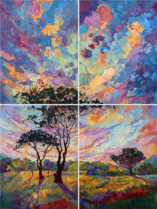 Huge quadtych oil painting with dramatic light, by master landscape artist Erin Hanson