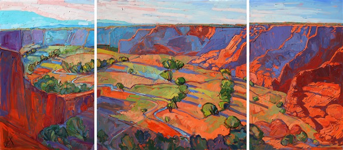 Large-scale oil painting triptych of Canyon de Chelly, Arizona, by Erin Hanson