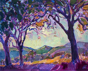 Small 8x10 original oil painting in an impressionistic style, by San Diego artist Erin Hanson.