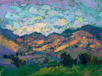 Follow the petite oil paintings of up and coming artist Erin Hanson