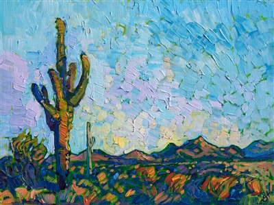 Saguaro southwest oil painting by contemporary impressionist artist Erin Hanson