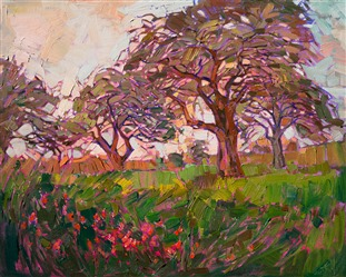 Hill country wildflowers landscape oil painting by Erin Hanson
