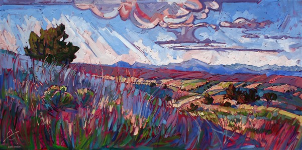 Arizona high desert oil painting by modern expressionism painter Erin Hanson