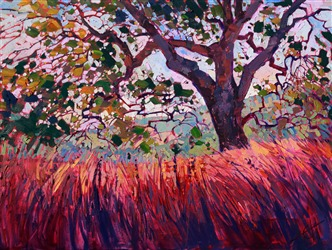 Paso Robles wine country oak painting, by modern impressionism artist Erin Hanson