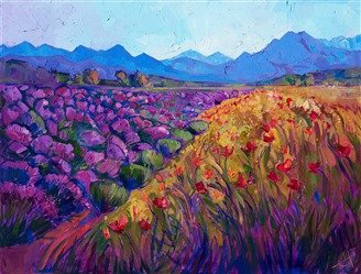 Oil painted landscape of Sequim Washington's lavender fields by impressionist artist Erin Hanson