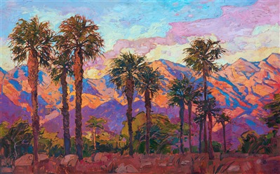 Oil painting of La Quinta mountains at dawn with iconic palm trees by impressionist artist Erin Hanson