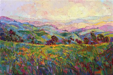 Vivid colorful original oil paintings for sale by modern impressionist Erin Hanson