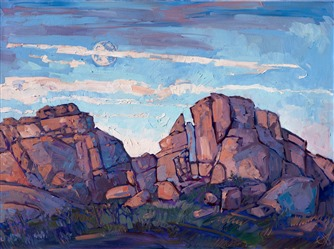 Original oil painting of Joshua Tree National Park with moon rising over the boulders by impressionist artist Erin Hanson