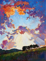 Big texas sky oil painting by master impressionism painter Erin Hanson