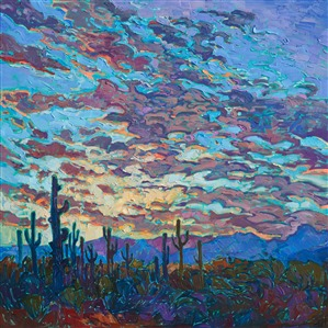 Arizona Saguaro landscape painting with impressionistic sunset colors.
