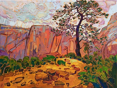 Angels Landing oil painting of Zion National Park, hanging in the zion museum