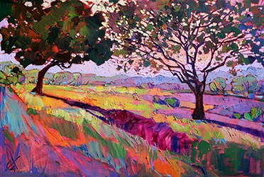 Dramatic shadows landscape painting in oils by Erin Hanson