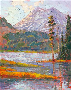 24 Karat gold leaf original oil painting in the modern impressionist style, by Erin Hanson