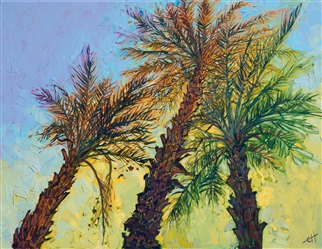 Date Palms modern impressionist painting of La Quinta by Erin Hanson
