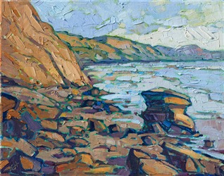 Oil painting of Blacks Beach in La Jolla by contemporary artist Erin Hanson