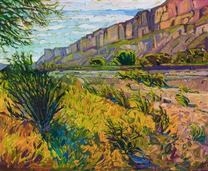 Big Bend National Park artwork, colorful impressionistic painting by Erin Hanson