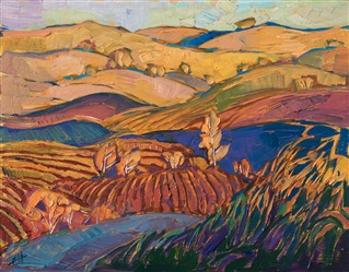 Paso Robles wine country hills in autumn colors, by California impressionist Erin Hanson