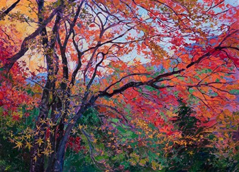 Japanese maple tree painting by modern impressionist Erin Hanson.