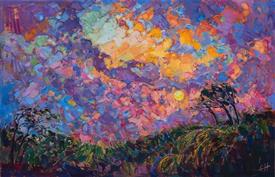Contemporary impressionism landscape oil painting by Erin Hanson.