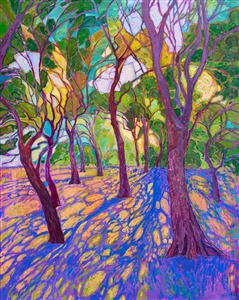 Crystal light oil painting of Texas cottonwood trees, by contemporary artist Erin Hanson