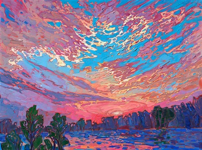Northwest sunset oil painting by colorist Erin Hanson