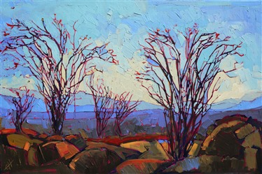 Abstract expressionist landscape painting of Ocotillo cacti, by Erin Hanson
