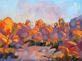 Joshua Tree painting in vivid color and thickly applied oil paint, by Erin Hanson
