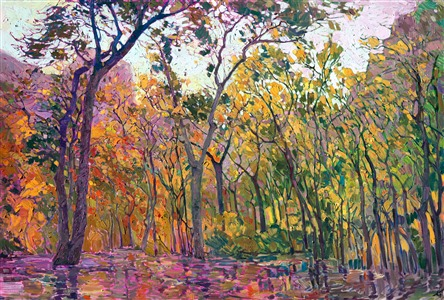 Zion National Park: cottonwood trees at the Lodge, oil painting by Erin Hanson