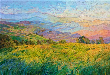 Paso Robles hill wine country oil painting by Erin Hanson