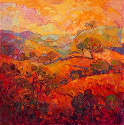 Citrus Hills, original oil painting by Erin Hanson, part of the The Orange Show.