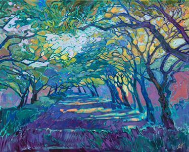 Texas Houston tree landscape oil painting by modern impressionist Erin Hanson