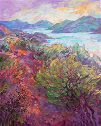 A California coastal summer dawn original painting by contemporary impressionist Erin Hanson