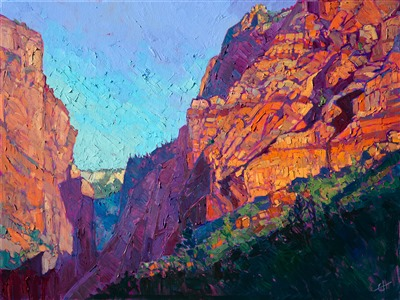 Kolob Canyon landscape oil painting of Zion, in a modern abstract and painterly style