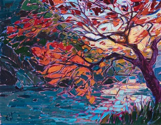 Japanese maple tree landscape oil painting by Erin Hanson