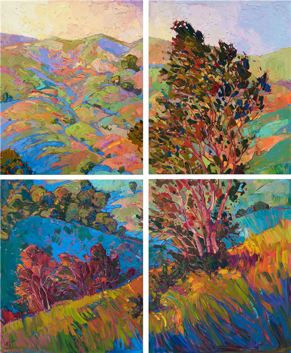 Four uniquely painted canvas, creating a beautiful impression of California's wine country by contemporary impressionist artist Erin Hanson