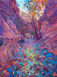 Colorful autumn landscape oil painting of Emerald Pools in Zion National Park by contemporary impressionist artist Erin Hanson