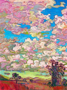 Paso Robles central California rolling hills and clouds impressionism oil painting by Erin Hanson