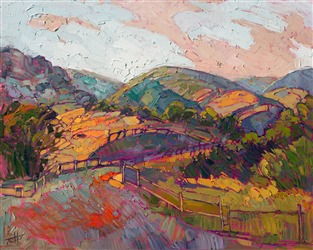 Paso Robles wine country painted in bold, expressive oils, by modern impressionist Erin Hanson.