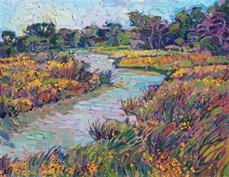 Winding river and Texas wildflowers original oil painting by contemporary impressionist artist Erin Hanson