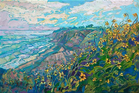 Torrey Pines wildflower San Diego landscape oil painting for sale by local artist Erin Hanson