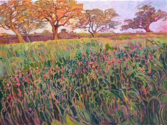 Texas wildflowers painting of Indian paintbrushes and oak trees, by American impressionist Erin Hanson.