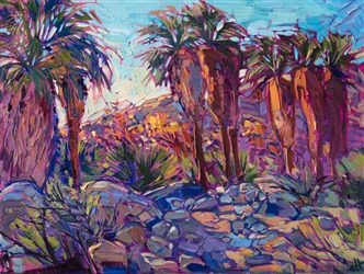 Petite painting of Thousand Palms oasis, by Erin Hanson.
