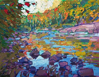 Oil landscape painting of Eagle Lake in Acadia National Park by contemporary artist Erin Hanson