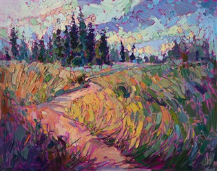 Oregon landscape painting in bold colors, by Erin Hanson