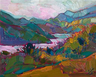 Whale Rock Reservoir, 8x10 oil painting by Erin Hanson