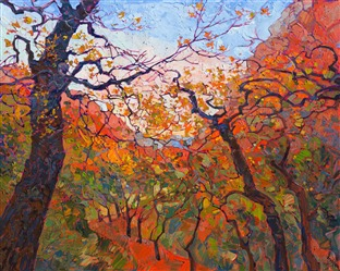 Zion National Park captured in thick, textured oils, by landscape artist Erin Hanson