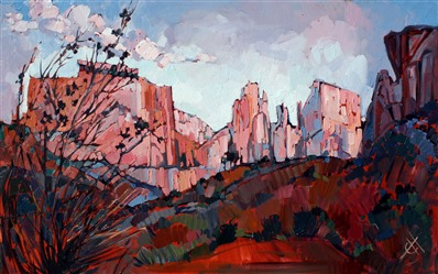Dramatic Zion sunrise painting by artist Erin Hanson
