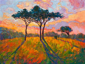 Vivid impressionistic color oil painting landscape by contemporary artist Erin Hanson